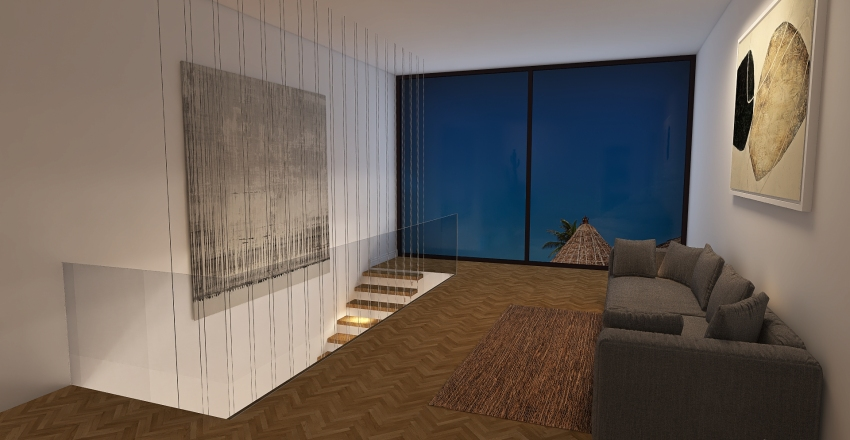 Rustic + modern house Interior Design Render