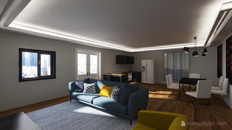 3 bed modern home Interior Design Render