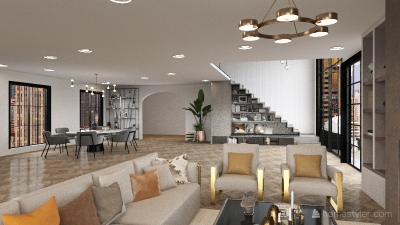 Modern House in the city Interior Design Render