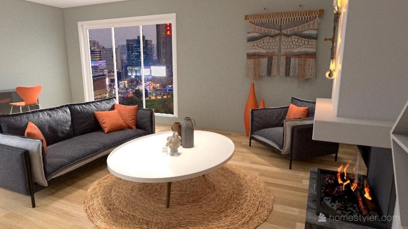 orange  Interior Design Render