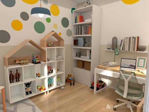 Home Office & Play Room Interior Design Render