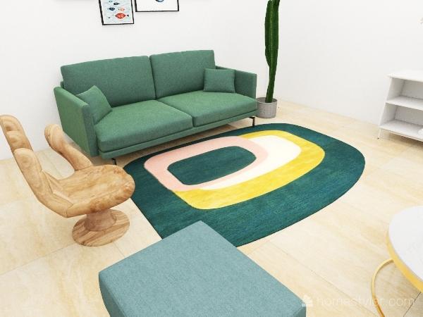 Living room+Bathroom Interior Design Render