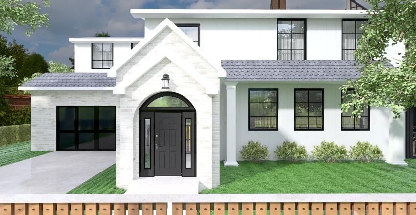 English Villa with greenhouse Interior Design Render