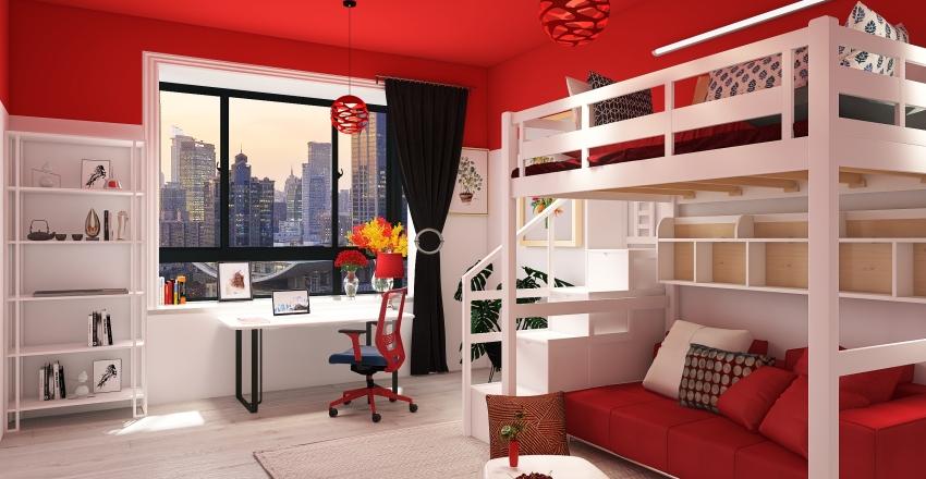 College bedrooms Interior Design Render