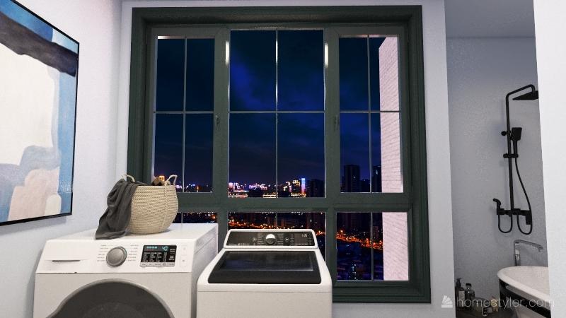 black tone, big view house Interior Design Render