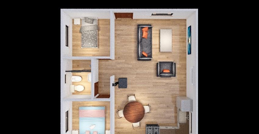 casa tipo 2 dormitorios Interior Design Render