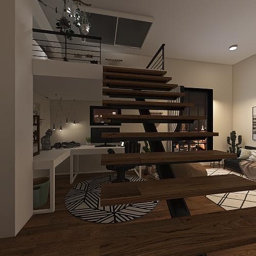 Loft Bedroom Interior Design Render