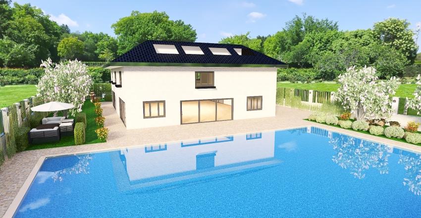 villetta con piscina Interior Design Render