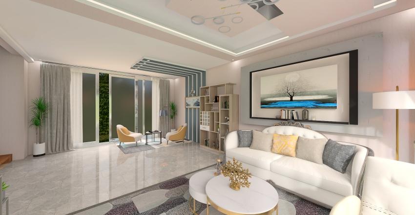 Hollywood Glam Design Living Room and Dining Area Interior Design Render