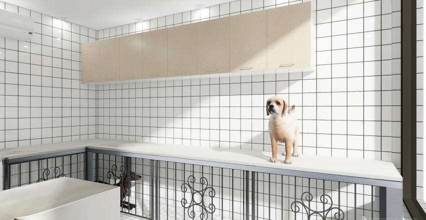 Banho e tosa - Pet Shop Alvorada Interior Design Render