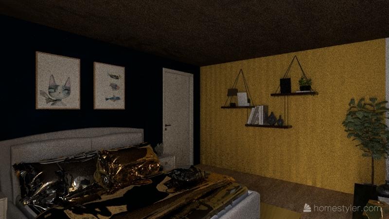 White Brick & Gray Wooden Modern Home Interior Design Render