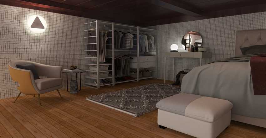 Tiny House in woods Interior Design Render
