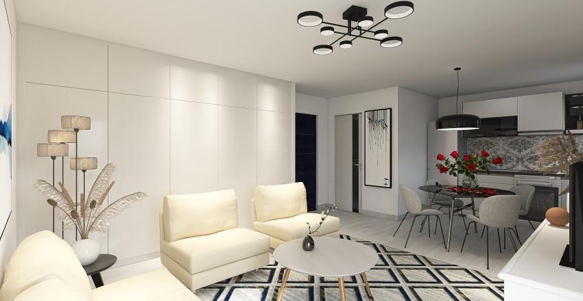 Studio apartment Greece Interior Design Render