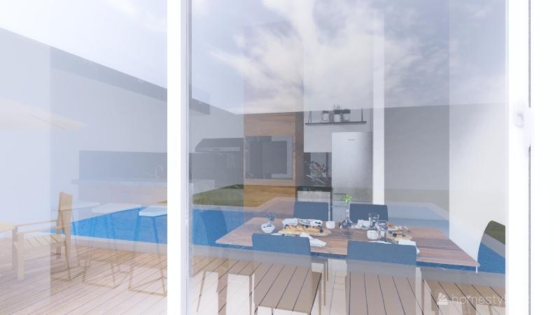 Interior Churrasqueira fachada com piscina Interior Design Render