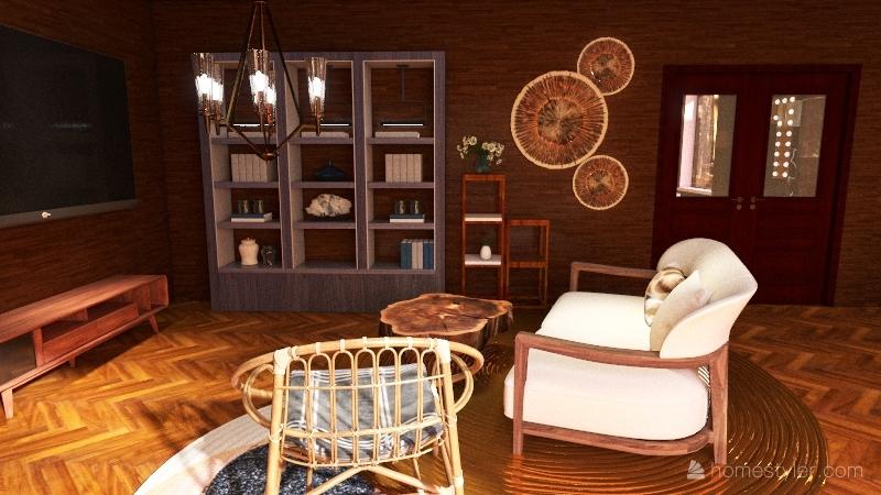 wood cabin Interior Design Render