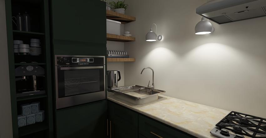 Art-deco and Scandi inspired apartment Interior Design Render