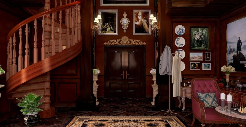 Dark Edwardian Office Interior Design Render