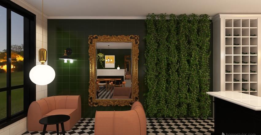comercial coffee Interior Design Render