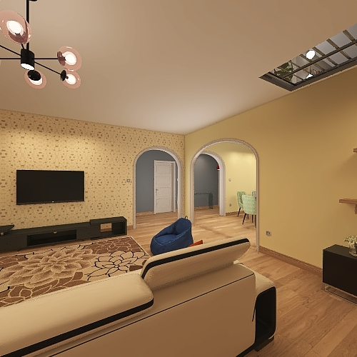 Due Livelli con finestra sul tetto Interior Design Render