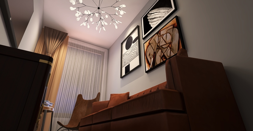 Leather's living room Interior Design Render