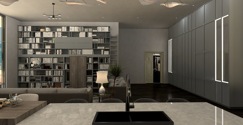 Cement Beach House Interior Design Render