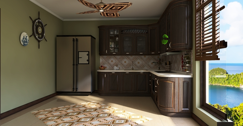 Colonial Style Island Flat Interior Design Render