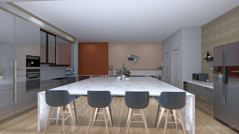 Modern Waterfall Home Interior Design Render