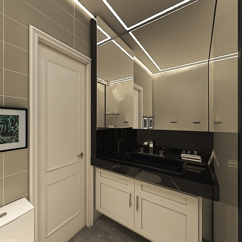 Sala cozinha e varanda Interior Design Render