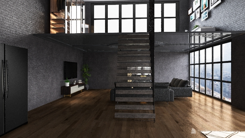 Loft apartment Interior Design Render