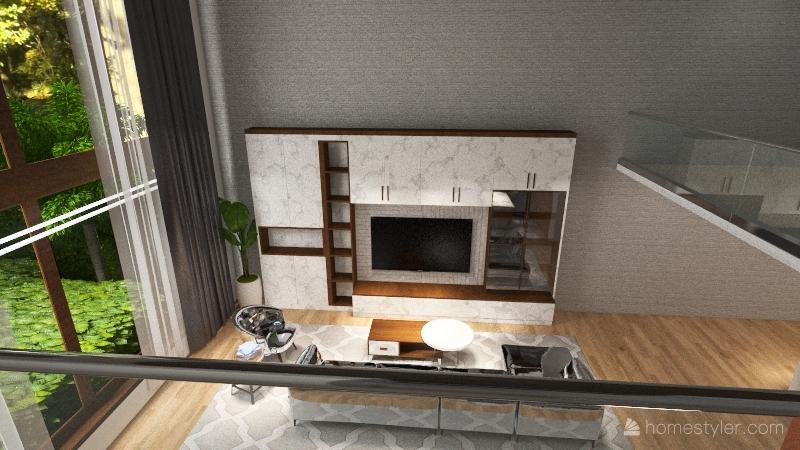 Modern Light wooden home Interior Design Render