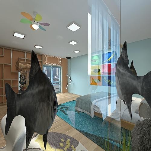 fish bedroom Interior Design Render