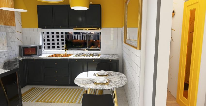 Mustard & Curves apartment Interior Design Render