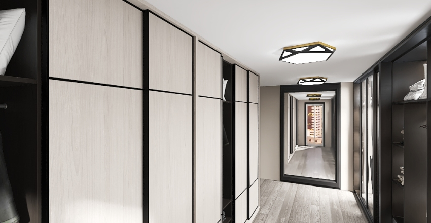 Sypialnia z przejściem do garderoby Interior Design Render