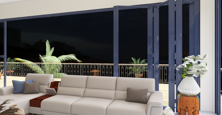 Tropical beach house Interior Design Render