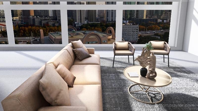 Grey and White house design Interior Design Render