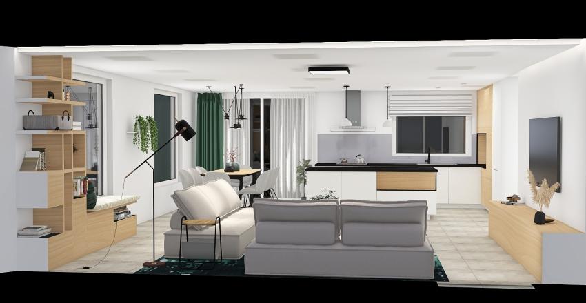 Martin REK - obývák s kuchyní Interior Design Render