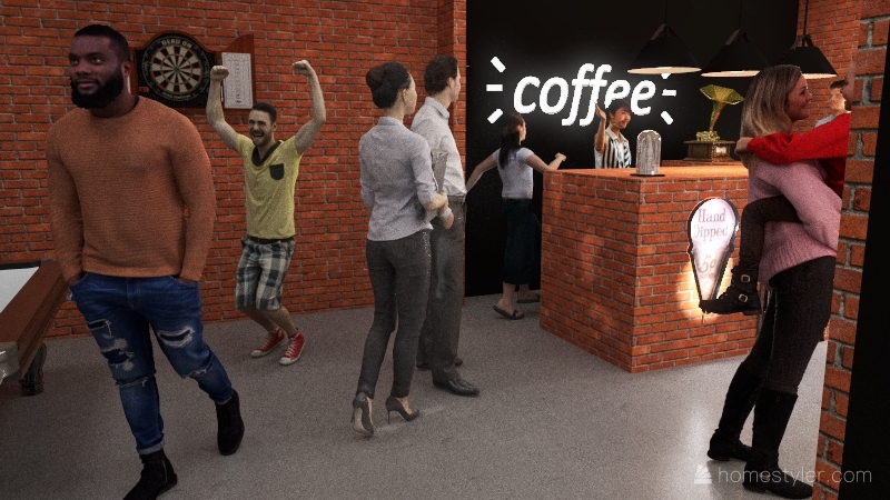 Cafe Building Interior Design Render