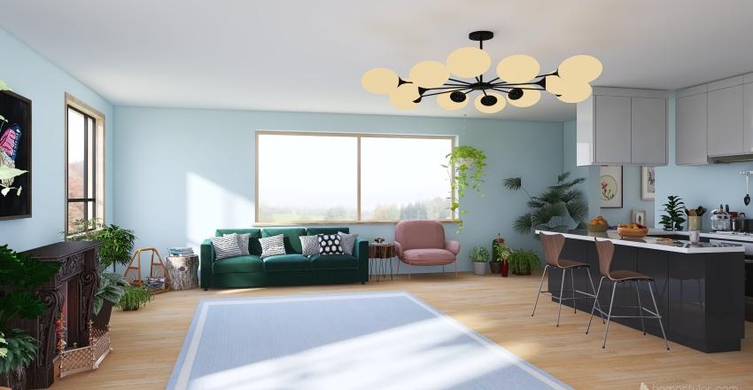 Blue Nature House Interior Design Render