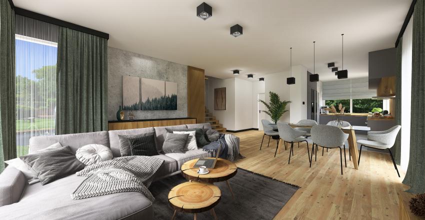 SL INVESTMENTS dom nr 3 - salon z aneksem kuchennym Interior Design Render
