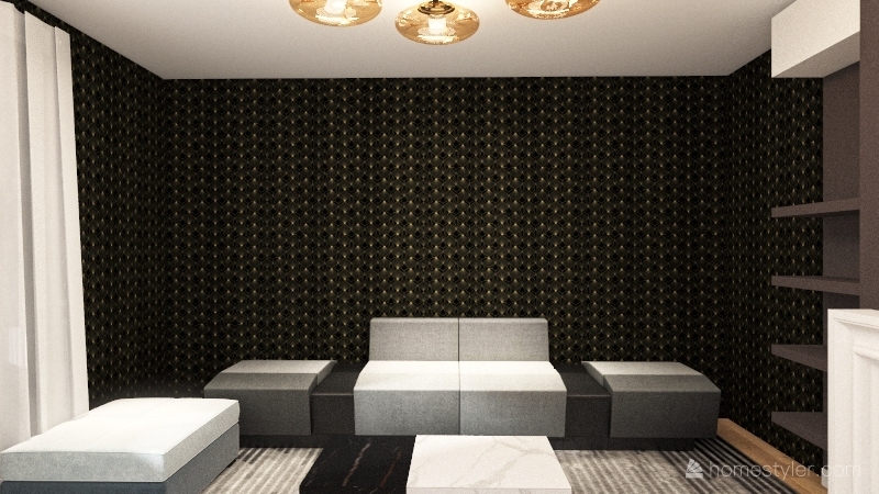 Terrace with Living Room Interior Design Render
