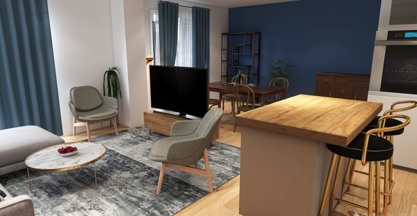 UK appartment 90sqm Interior Design Render