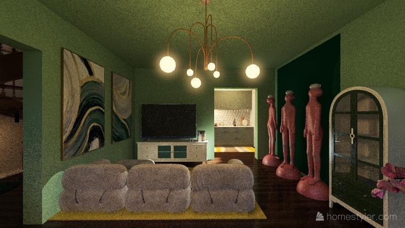 little three floor house Interior Design Render