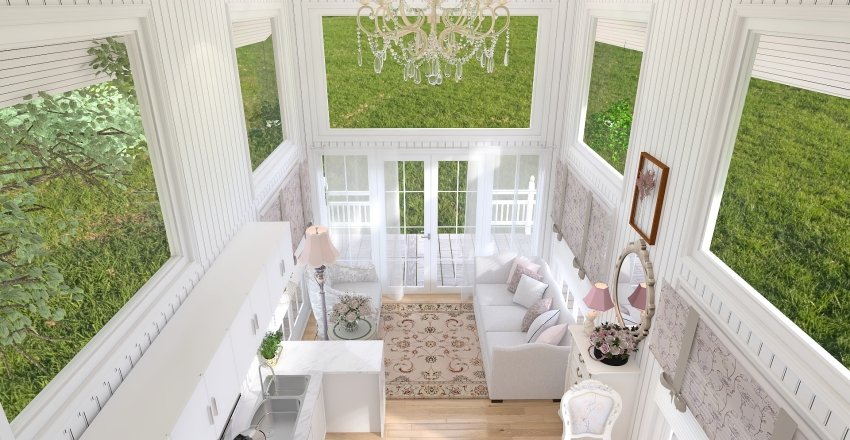 Shabby Chic Cottage Tiny Home Interior Design Render