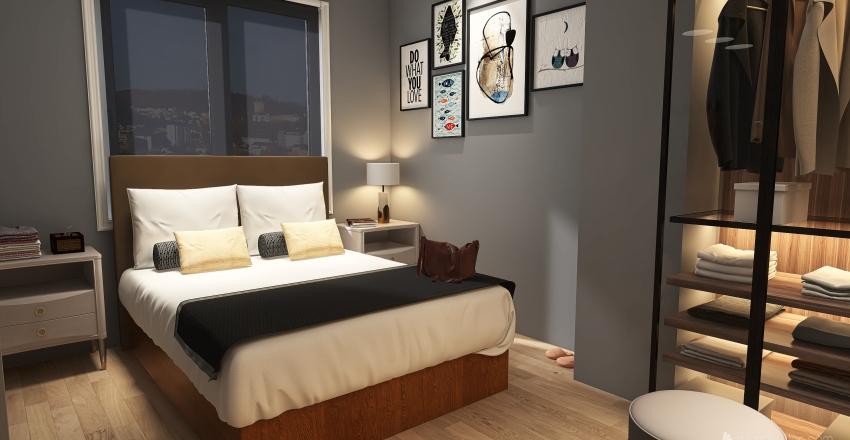 Small cosy bedroom Interior Design Render
