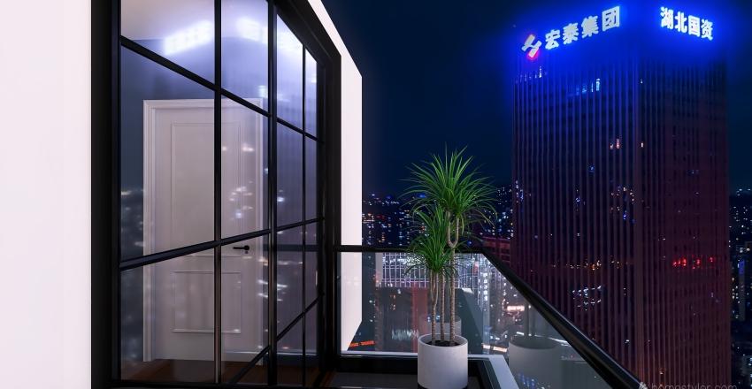Studio Unit Apartment Interior Design Render