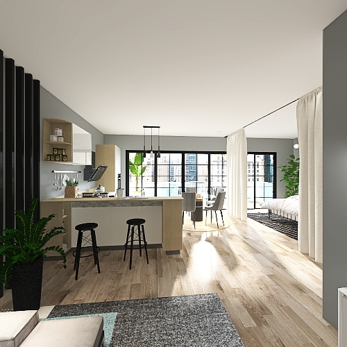 Studio Apartment - Anaya Parikh Interior Design Render