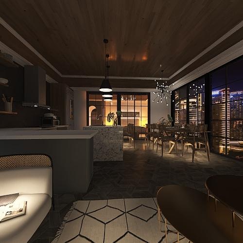 city pent house Interior Design Render