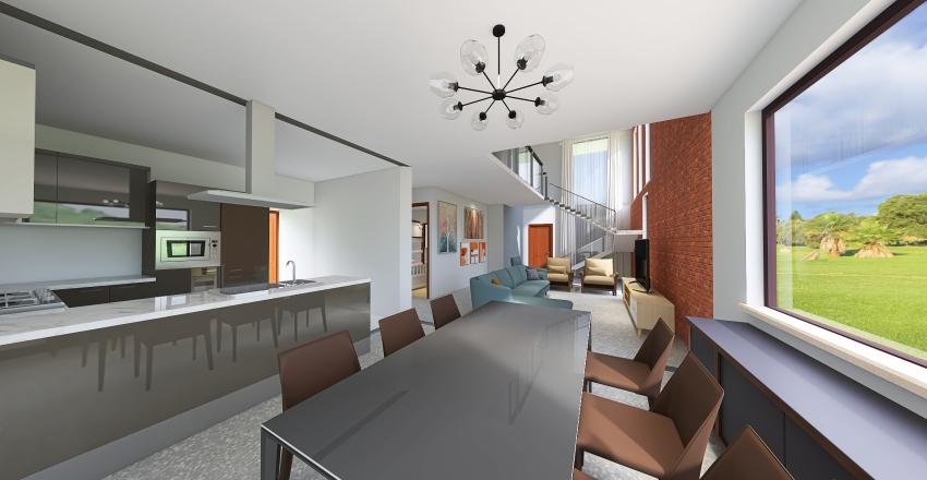 Small Brazilian house Interior Design Render