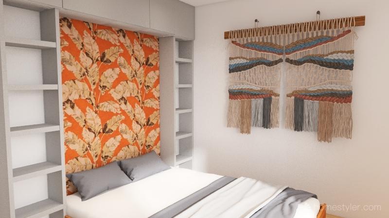 orange and gray botanical wallpaper Interior Design Render