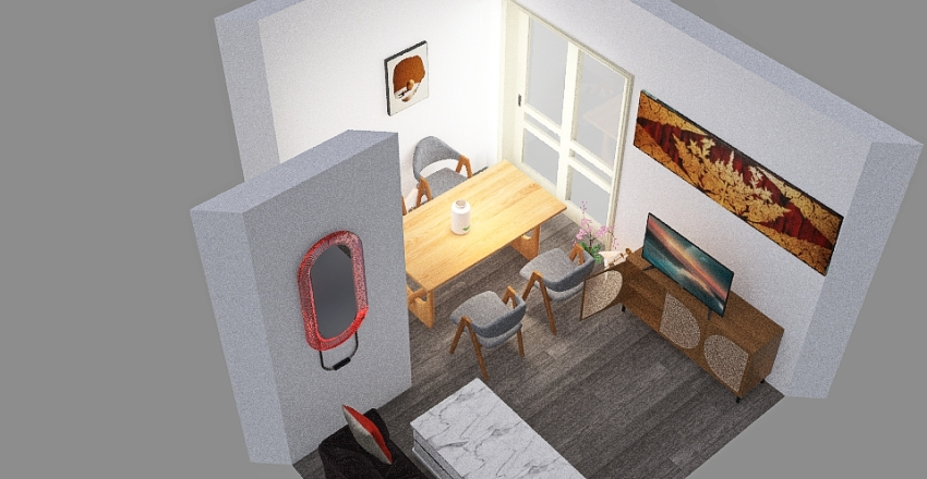 diseño de salon pareja joven Interior Design Render